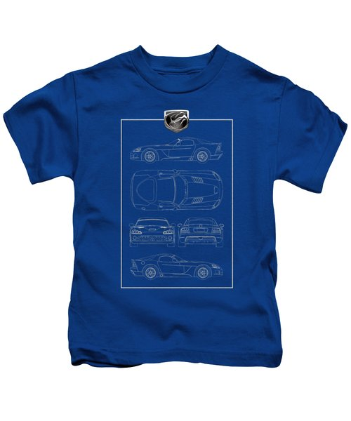 Dodge Viper  S R T 10  Blueprint With Dodge Viper  3 D  Badge Over Kids T-Shirt by Serge Averbukh