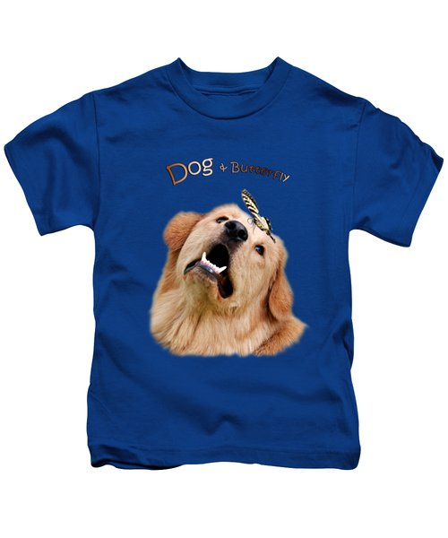 Kids T-Shirt featuring the photograph Dog And Butterfly by Christina Rollo