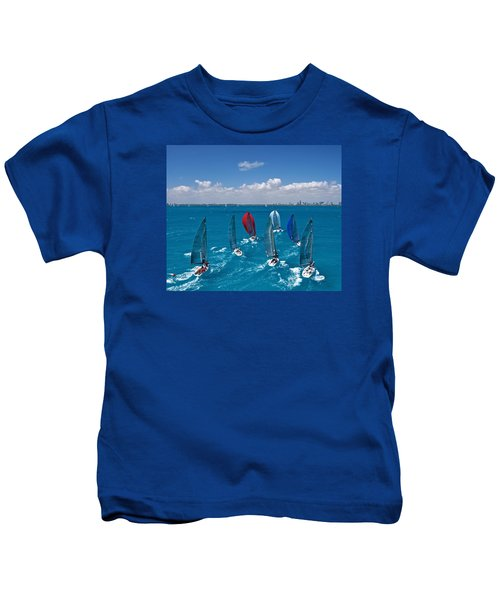 Downwind To Miami Kids T-Shirt by Steven Lapkin