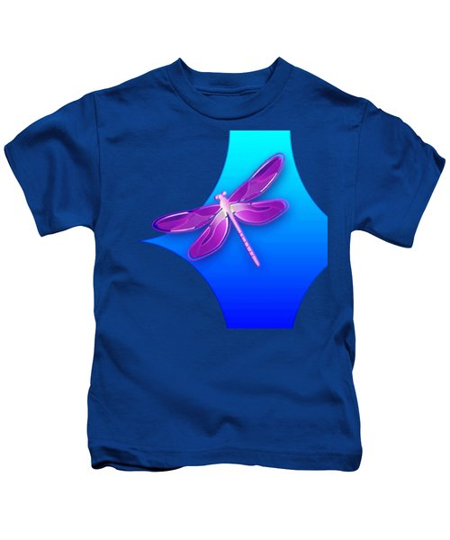 Dragonfly Pink On Blue Kids T-Shirt