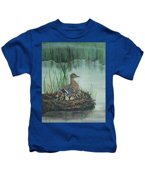Ducks In Lifting Fog Kids T-Shirt