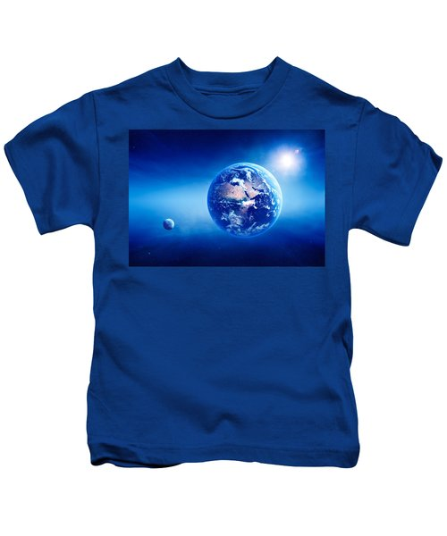 Earth Sunrise Deep Space Kids T-Shirt