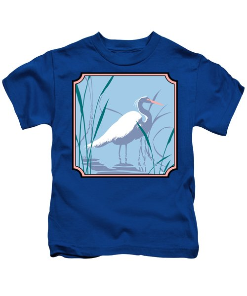 Egret Tropical Abstract - Square Format Kids T-Shirt by Walt Curlee