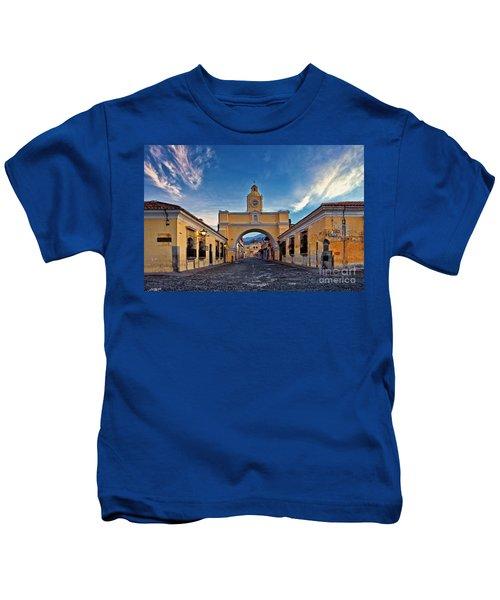 Kids T-Shirt featuring the photograph El Arco De Santa Catarina, Antigua, Guatemala by Sam Antonio Photography