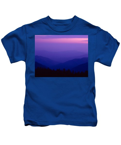 Elevated View Of Valley With Mountains Kids T-Shirt