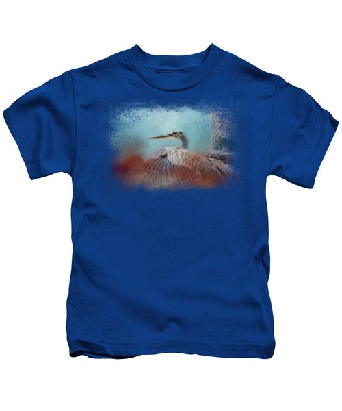 Emerging Heron Kids T-Shirt by Jai Johnson