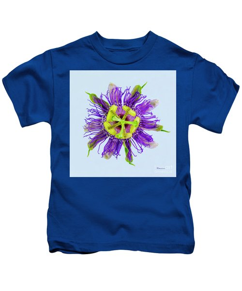 Expressive Yellow Green And Violet Passion Flower 50674b Kids T-Shirt