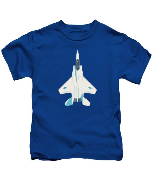 F15 Eagle Us Air Force Fighter Jet Aircraft - Blue Kids T-Shirt