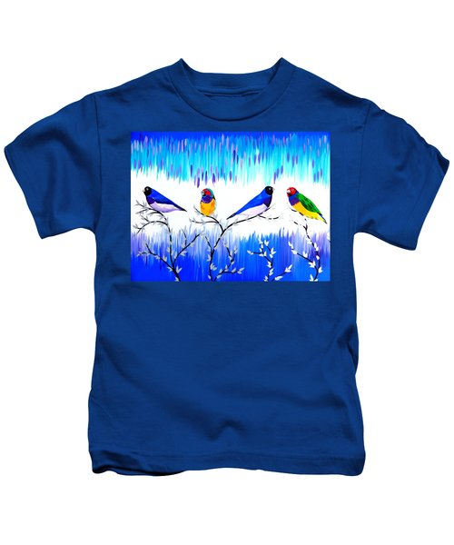Finches Kids T-Shirt by Cathy Jacobs