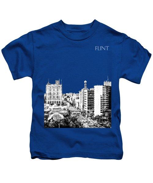 Flint Michigan Skyline - Aqua Kids T-Shirt