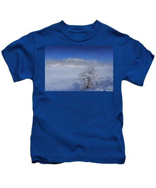 Fog Over The Flatirons Kids T-Shirt