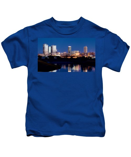 Fort Worth Skyline At Night Poster Kids T-Shirt