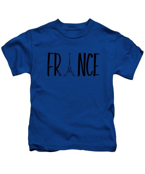 France Typography Kids T-Shirt by Melanie Viola