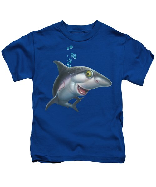 friendly Shark Cartoony cartoon under sea ocean underwater scene art print blue grey  Kids T-Shirt by Walt Curlee
