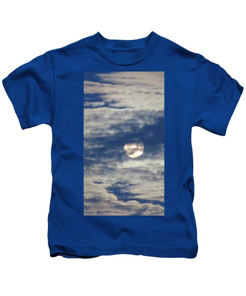 Kids T-Shirt featuring the photograph Full Moon In Gemini With Clouds by Judy Kennedy