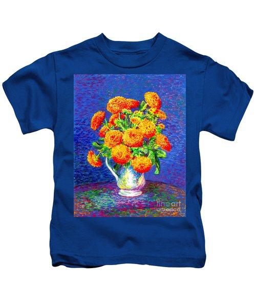 Gift Of Gold, Orange Flowers Kids T-Shirt