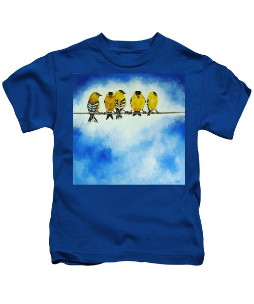 Goldfinch On A Wire Kids T-Shirt