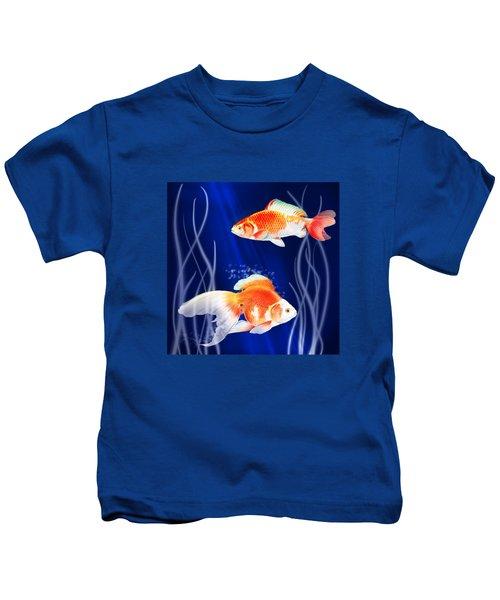 Goldfish Aglow Kids T-Shirt by Little Bunny Sunshine