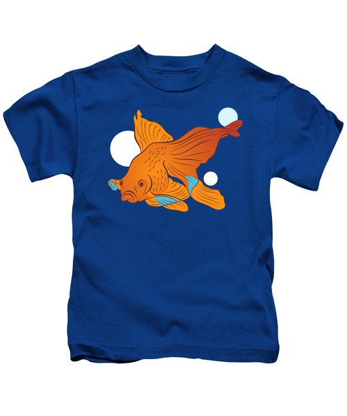 Goldfish And Bubbles Graphic Kids T-Shirt by MM Anderson