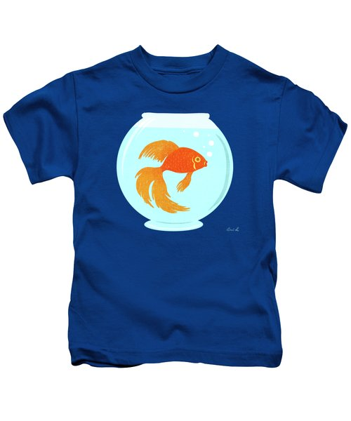 Goldfish Fishbowl Kids T-Shirt by Little Bunny Sunshine