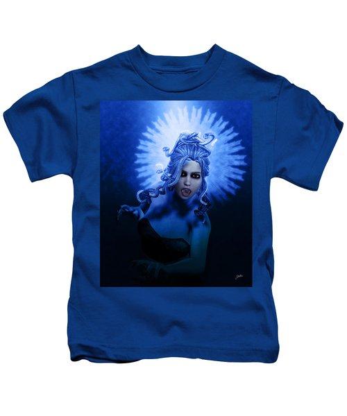 Gorgon Blue Kids T-Shirt by Joaquin Abella