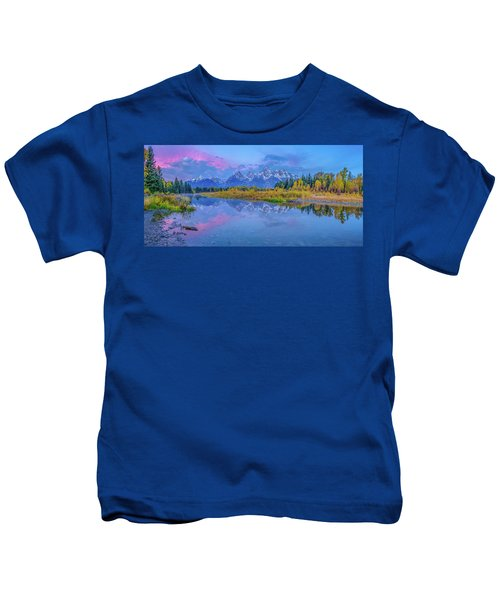 Grand Teton Sunrise Panoramic Kids T-Shirt