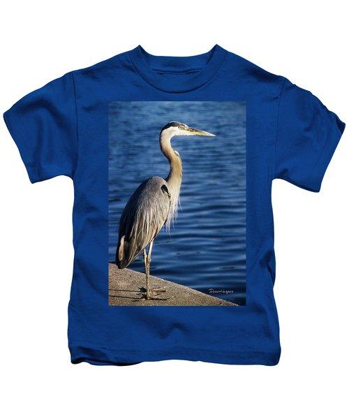Great Blue Heron At Put-in-bay Kids T-Shirt