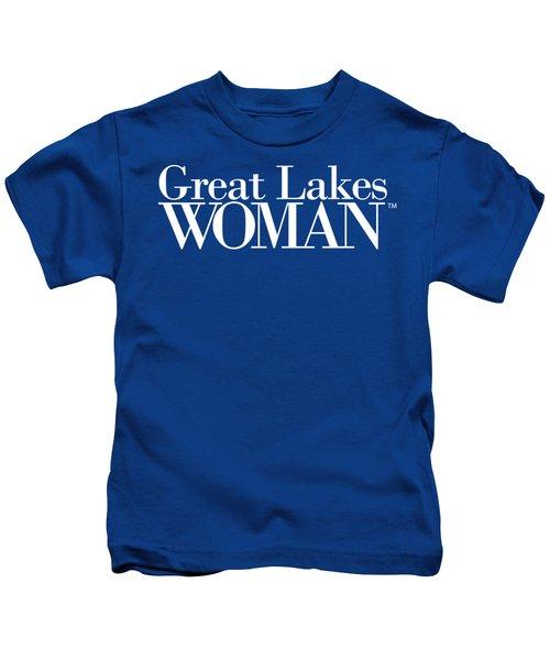Great Lakes Woman White Logo Kids T-Shirt