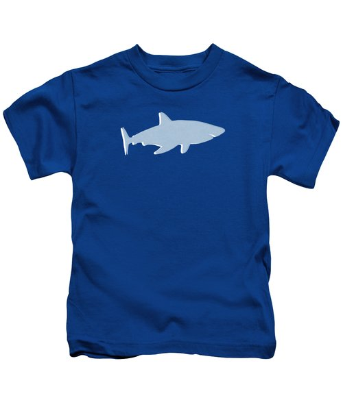 Grey And Yellow Shark Kids T-Shirt by Linda Woods