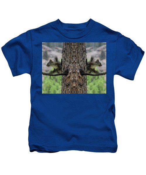Grey Squirrels On The Look Out Kids T-Shirt