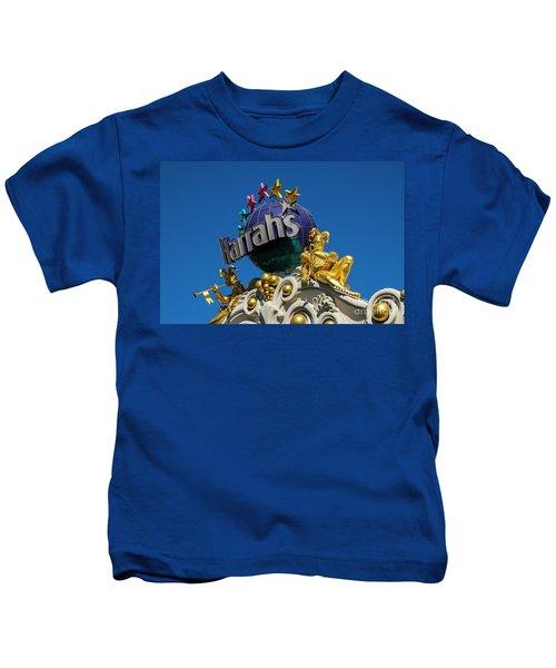 Harrah's Casino Sign On The Las Vegas Strip Kids T-Shirt