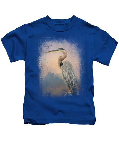 Heron On The Rocks Kids T-Shirt by Jai Johnson