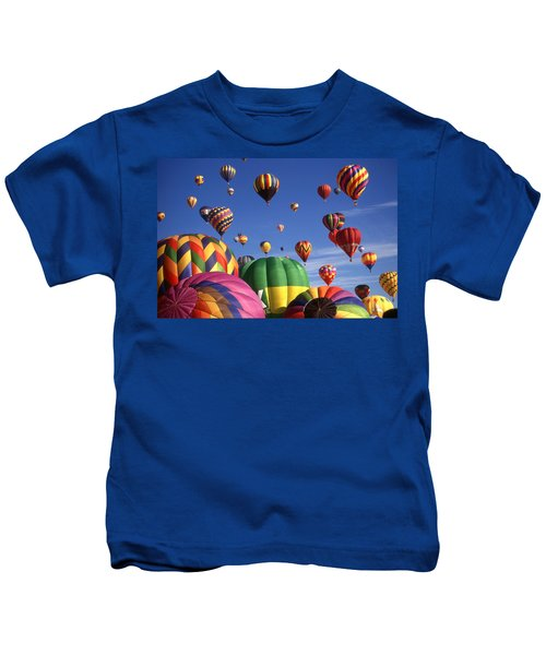 Beautiful Balloons On Blue Sky - Color Photo Kids T-Shirt