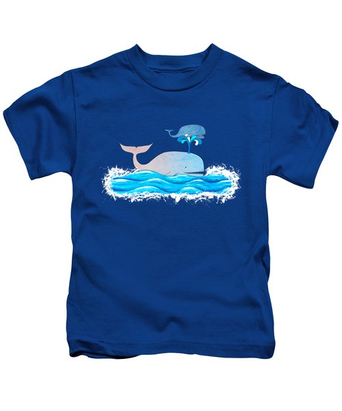 How Whales Have Fun Kids T-Shirt by Shawna Rowe