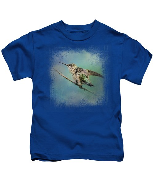 Hummingbird On Mint Kids T-Shirt