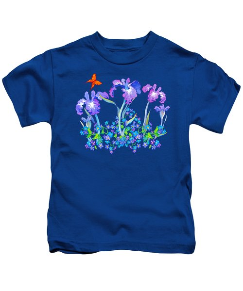 Iris Bouquet With Forget Me Nots Kids T-Shirt by Teresa Ascone