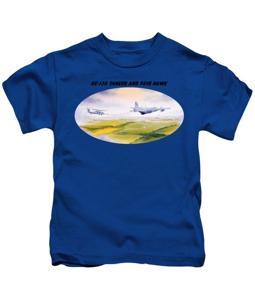 Kc-130 Tanker Aircraft And Pave Hawk With Banner Kids T-Shirt