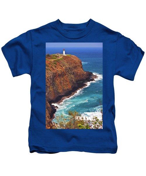 Kids T-Shirt featuring the photograph Kilauea Lighthouse On The Island Of Kauai, Hawaii, United States Of America          by Sam Antonio Photography