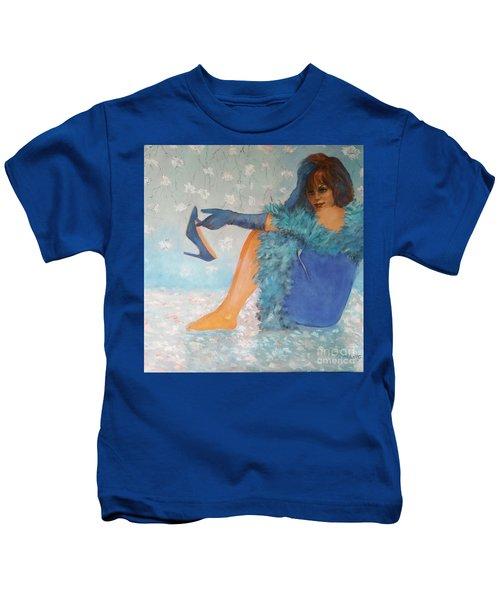 Lady In Blue Kids T-Shirt