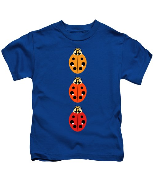 Ladybug Trio Vertical Kids T-Shirt by MM Anderson