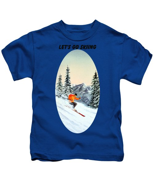 Let's Go Skiing  Kids T-Shirt by Bill Holkham