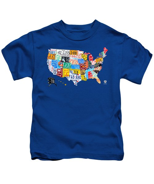 License Plate Map Of The Usa On Royal Blue Kids T-Shirt