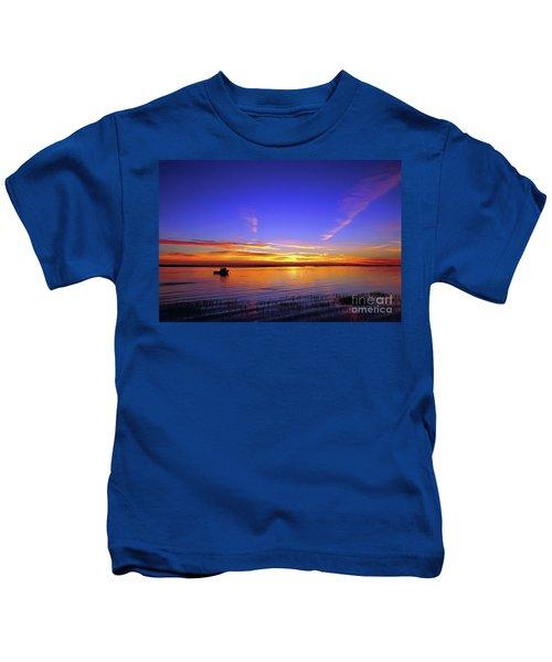 Lobster Boat At Sunrise. Kids T-Shirt