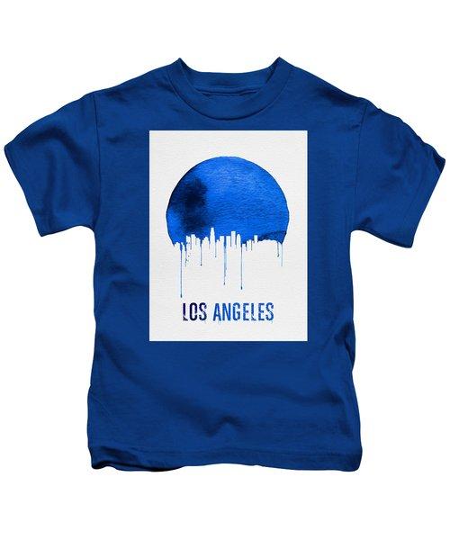 Los Angeles Skyline Blue Kids T-Shirt by Naxart Studio