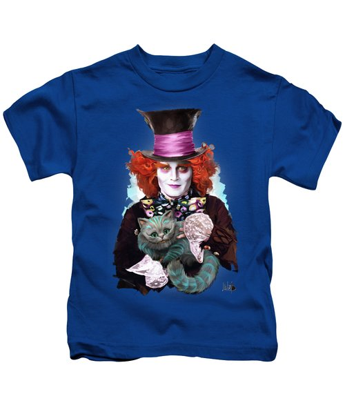 Mad Hatter And Cheshire Cat Kids T-Shirt