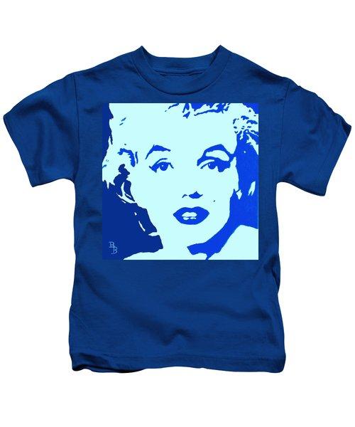 Marilyn Monroe Blue Pop Art Portrait Kids T-Shirt