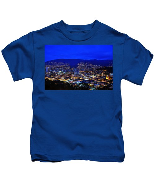 Medellin Colombia At Night Kids T-Shirt