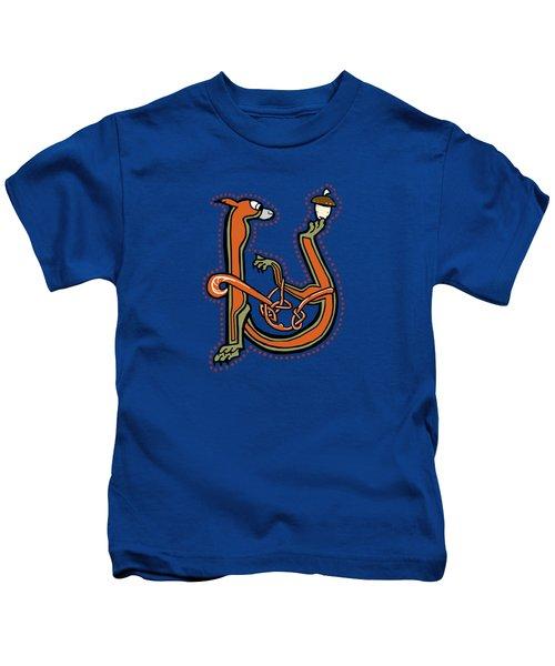 Medieval Squirrel Letter U Kids T-Shirt