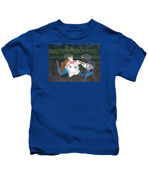 Meowjongg - Cats Playing Mahjongg Kids T-Shirt