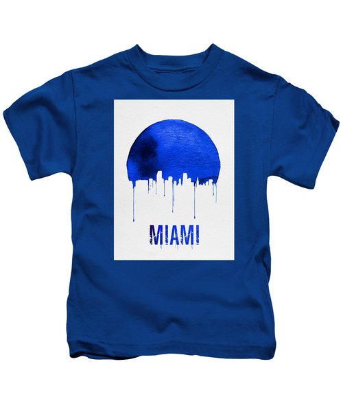 Miami Skyline Blue Kids T-Shirt by Naxart Studio